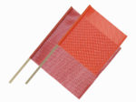 "18""x18"" Orange and 24""x24"" Red Dowel Flags"